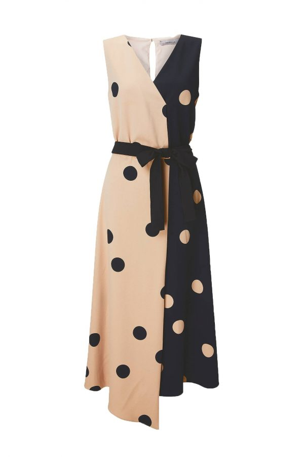 Spotty beige and black dress with black fabric belt from Marella