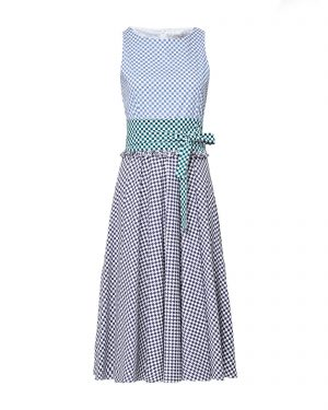 Blue and green checks on white background. Summer flare dress by Marella