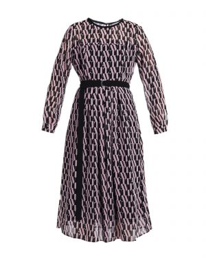 Beautiful black and pink Marella day dress with black fabric belt