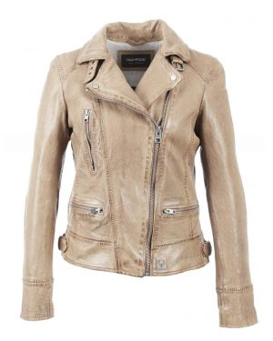 Luxurious leather biker jacket in light beige from Oakwood