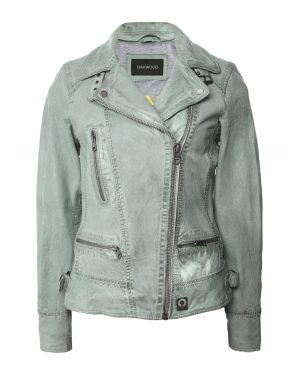 Luxurious leather biker jacket in pale green from Oakwood