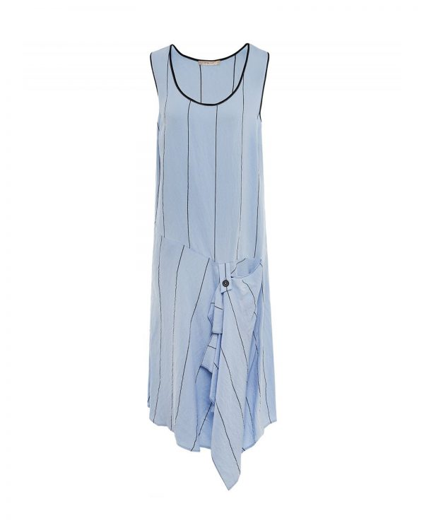 Crea Concept sleeveless blue dress with black stripes